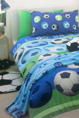 FOOTBALL-BLUE-GREEN-WHITE-BLACK-SINGLE-DUVET-SET-0