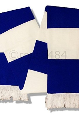 Football-Royal-Blue-White-Bar-Scarf-No-Logo-or-Emblem-Unofficial-Merchandise-0