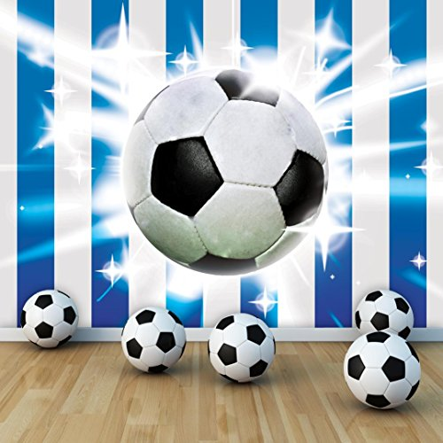 . Football on Blue and White Strips Wallpaper Mural   The Set Shop Football  Merchandise